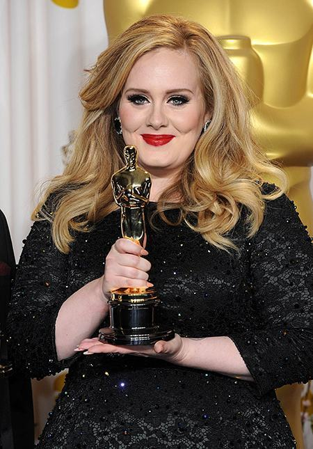 Adele with the Oscar for Achievement in Music (Original Song) for Skyfall at the 85th Academy Awards at the Dolby Theatre, Los Angeles.